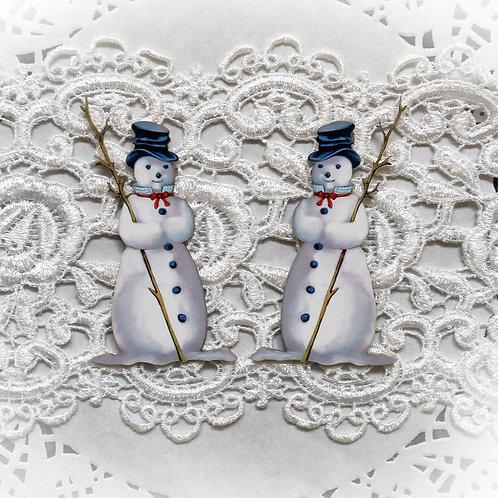 Printed Beautiful Board Tiny Snowman Chipboard