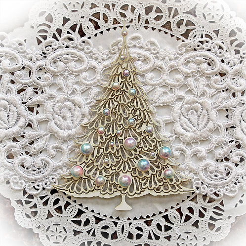 Beautiful Board Small Shabby Christmas Tree Laser Cut Chipboard