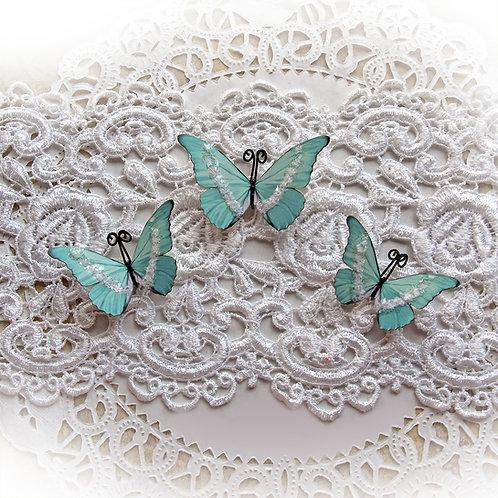Ice Fairy Mint Green Premium Paper Glitter Glass Butterflies