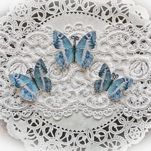 Blue Quartz Premium Paper Glitter Glass Butterflies