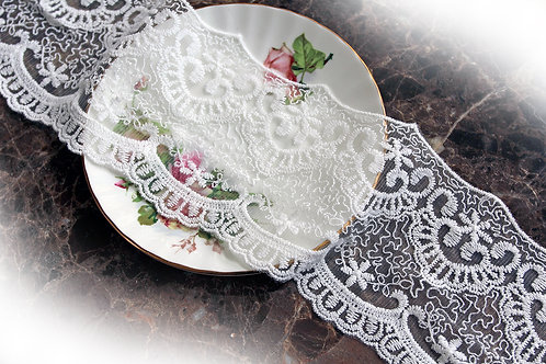 Vintage Wedding Lace~ White 4 Inch Wide