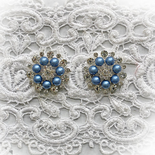 Smoke Blue Pearl And Rhinestone Button Set Of 2
