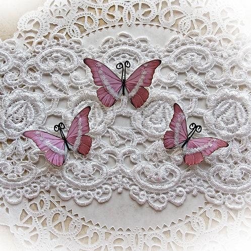 Ice Fairy Pink Premium Paper Glitter Glass Butterflies
