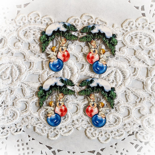 Beautiful Board Angel Ornaments Traditional Itty Bitty Chipboard Set