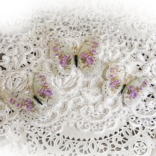 Shabby Lavender Rose Glass Wing Double Butterflies
