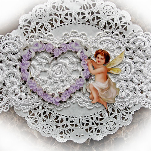 Beautiful Board Large Romance And Roses Purple Heart Frame With Cherub Chipboar