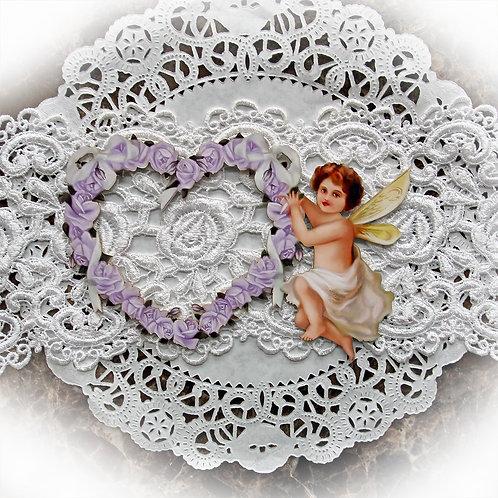 Beautiful Board Medium Romance And Roses Purple Heart Frame With Cherub Chipboa