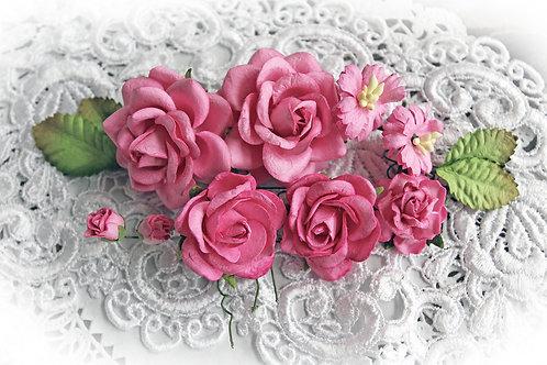 Dark Pink Roses & Leaves Mulberry Paper Flowers