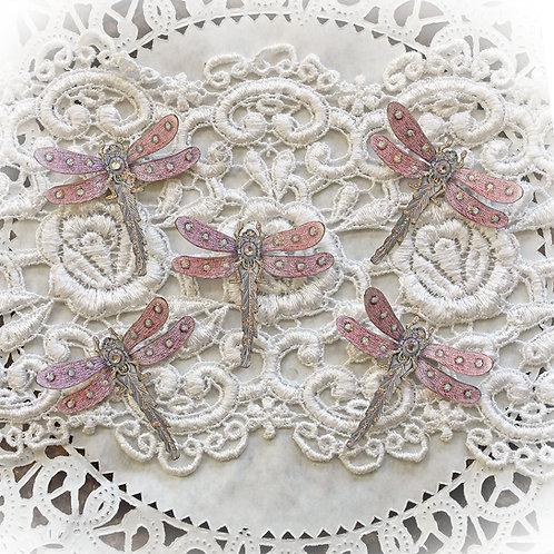 Tiny Treasures Premium Paper Pendant Pink Dragonflies