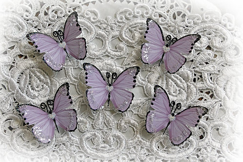 Tiny Treasures Sweetheart Lavender Glitter Glass Premium Paper Butterflies