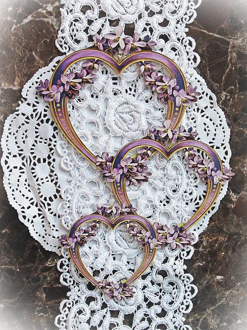 Printed Beautiful Board Lavender Lilac Heart Frame Set Of 3 Laser Cut Chipboar