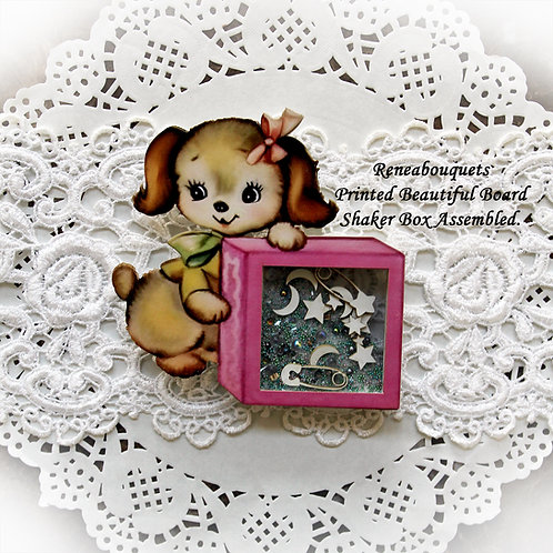 Printed Beautiful Board Baby Blocks Puppy Shaker Box Chipboard