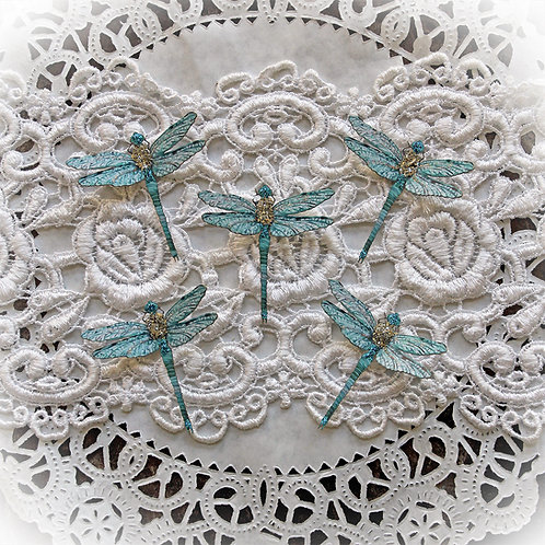 Tiny Treasures Suncatcher Teal Premium Paper Glitter Glass Drago