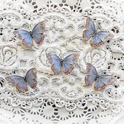 Tiny Treasures Watercolor Spun Lavender Premium Paper Glitter Glass Butterflies
