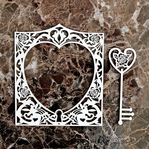 Beautiful Board Medium Rose Heart Locket Frame & Key Set