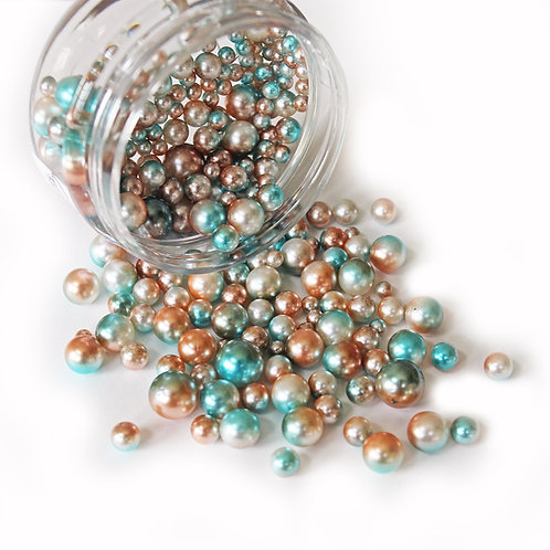 1 .8 Ounce Beautiful Beads Bronzed Teal Iridescent Pearls