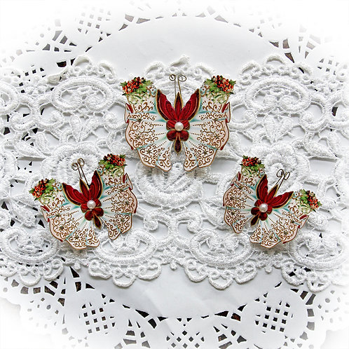 Holly And Berry Christmas Premium Paper Butterflies