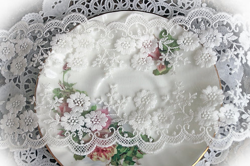White Wide Floral Embroidered Lace