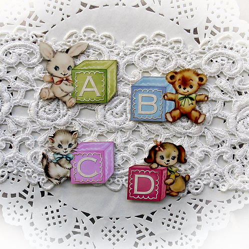 Printed Beautiful Board Small Baby Blocks ABCD Laser Cut Chipboard Die