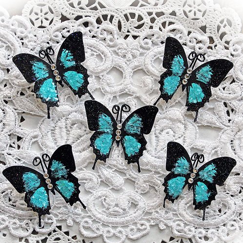 Tiny Treasures Dark Teal Premium Paper Glitter Glass Butterflies