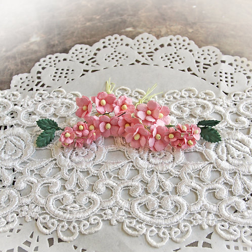 Itty Bitty Blossoms and Leaves Pink Mulberry Paper Flowers