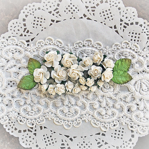 Mini White Mulberry Paper Roses And Leaves Set of 24