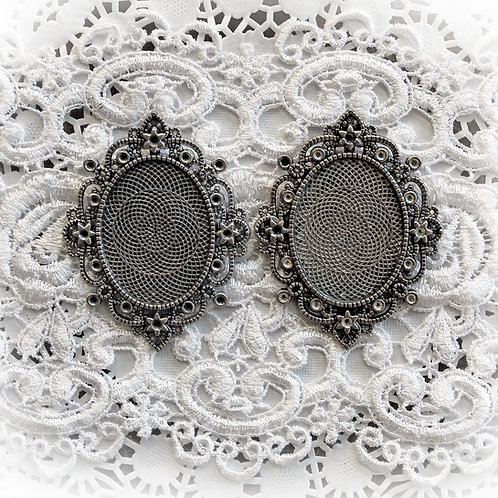 Reneabouquets~ Silver  Baroque Metal Frames Set Of 2