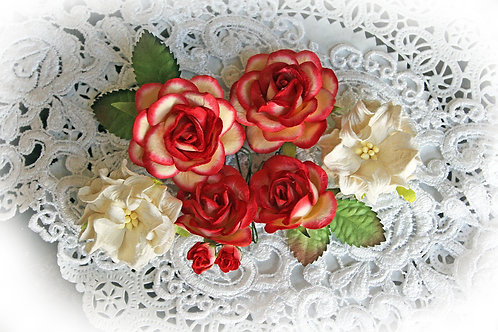 Vintage Red Mulberry Paper Roses & Gardenias