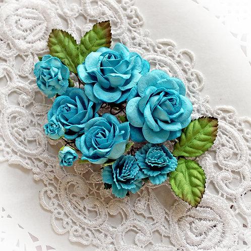 Dark Teal Roses & Leaves Mulberry Paper Flowers