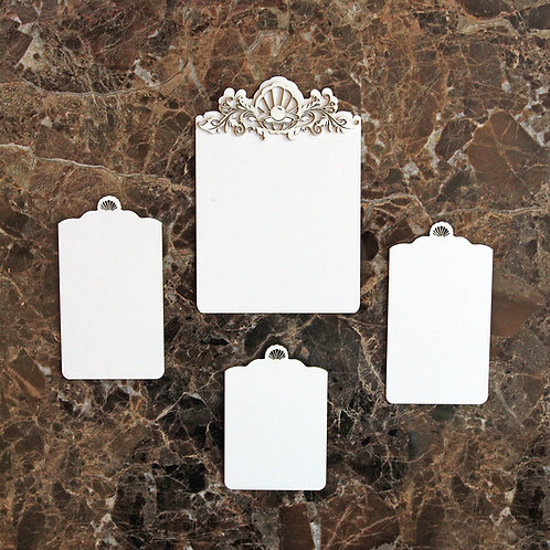 Beautiful Board 5 Piece Shell Tag Laser Cut Chipboard Set