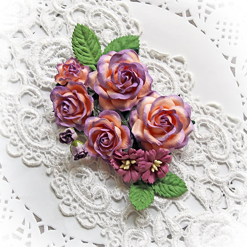 Purple Sherbet Roses And Leaves Mulberry Paper Flower Set