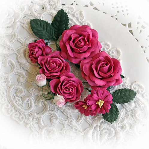 Raspberry Pink Roses And Leaves Mulberry Paper Flowers