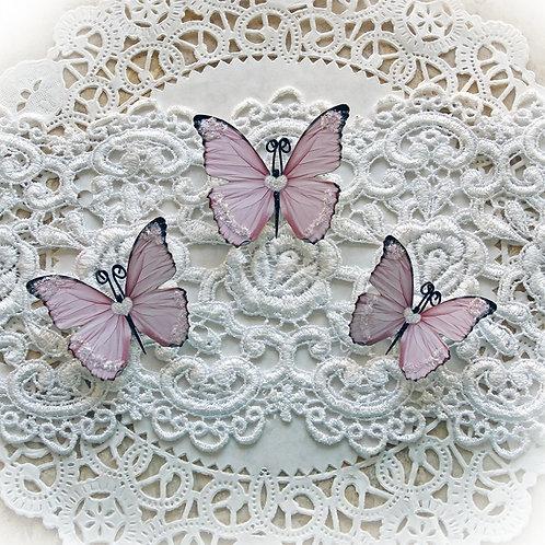 Sweetheart Pink Glitter Glass Premium Paper Butterflies