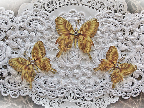 Elegant Gold Glitter Glass Wing Double Layer Premium Paper Butterflies
