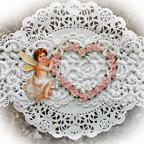 Beautiful Board Small Romance And Roses Heart Frame With Cherub Chipboa