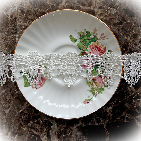 White Tear Drop Lace~White 1.5 Inch Wide