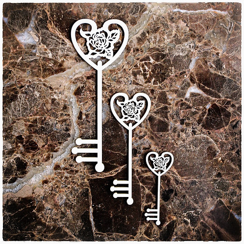 Beautiful Board Rose Lace Keys Laser Cut Chipboard Key Set Of 3