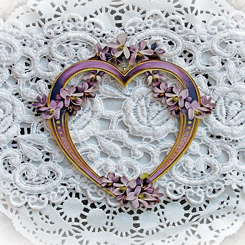Printed Beautiful Board Large Lavender Lilac Heart Frame Laser Cut Chipboard
