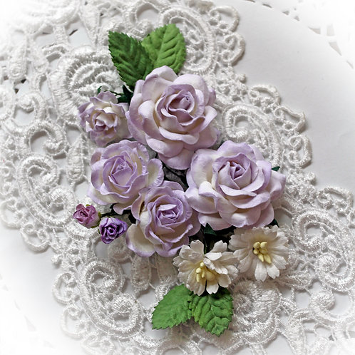 Lavender And White Roses And Leaves Mulberry Flower Set