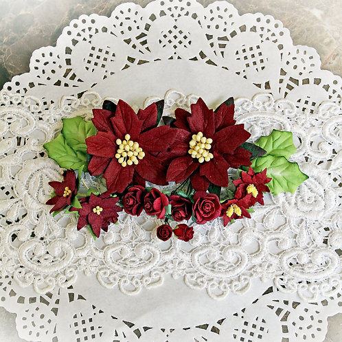Christmas Burgundy Mulberry  Poinsettias, Mini Roses and Holly Leaves Flowe