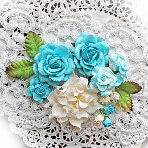 Dark Teal Curly Roses Mulberry Paper Flowers