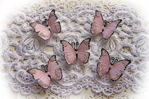 Tiny Treasures Sweetheart Glitter Glass Premium Paper Butterflies Set