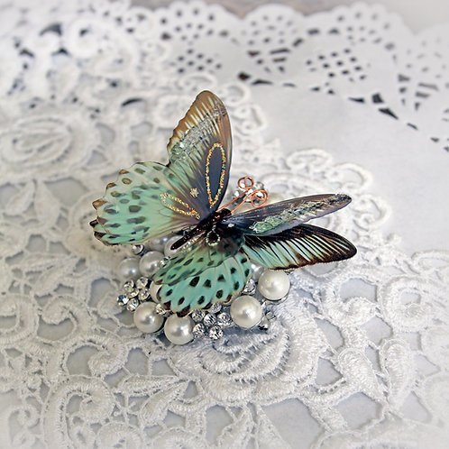 Mint Chocolate Chip Glass Wing Double Butterflies