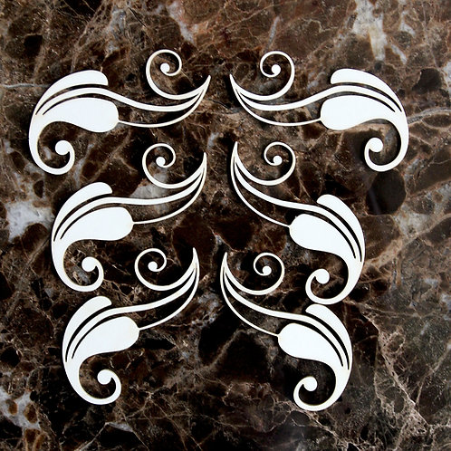 Beautiful Board  Small Quilling Leaves Laser Cut Chipboard Set Of 6
