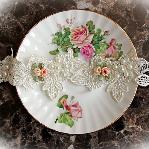 Garden Party Pearls & Roses Lace~Ivory 2 1/4 Inch Wide