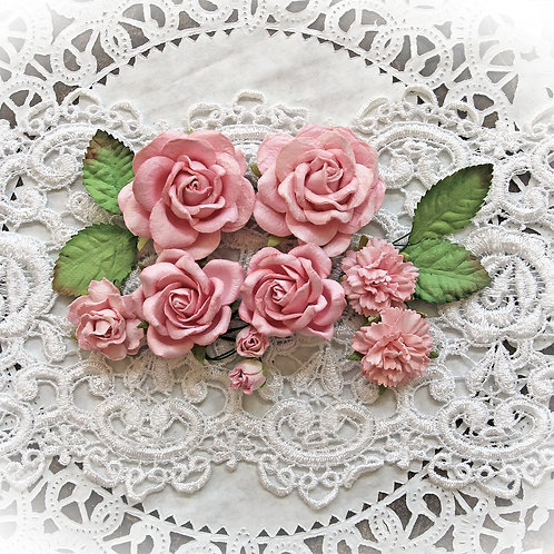 Candy Pink Roses And Leaves Mulberry Paper Flowers