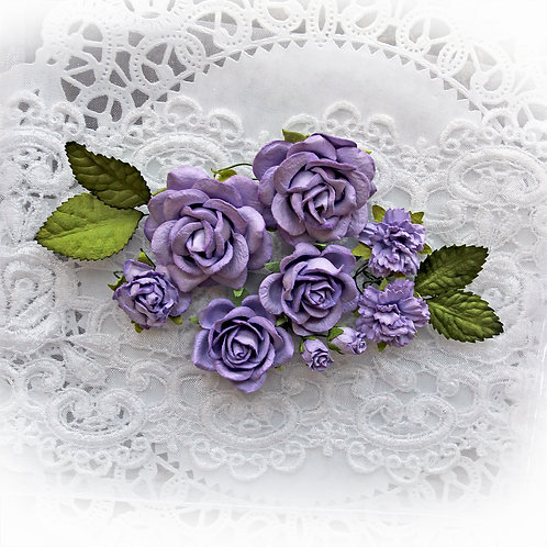 Purple Mulberry Paper Roses & Leaves Flower Set