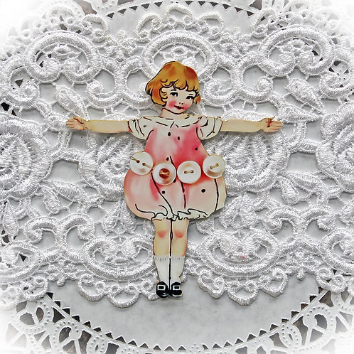 Printed Beautiful Board Small Button Doll Laser Cut Chipbo