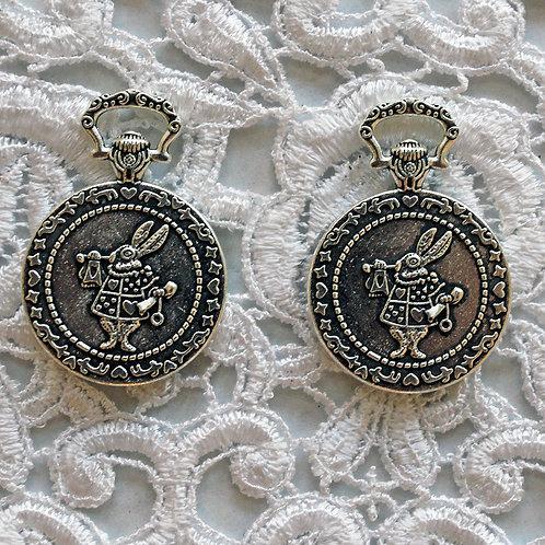 White Rabbit In Wonderland Silver Pocket Watch