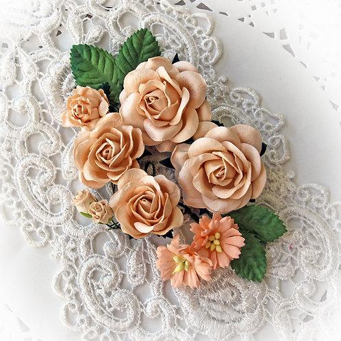 Tangerine Quartz  Roses And Leaves Mulberry Paper Flower Set